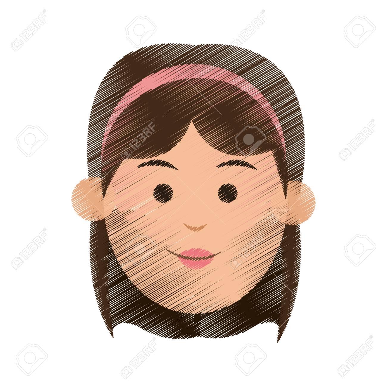 jeune femme avec des cheveux courts et bandeau icône image vector  illustration design.
