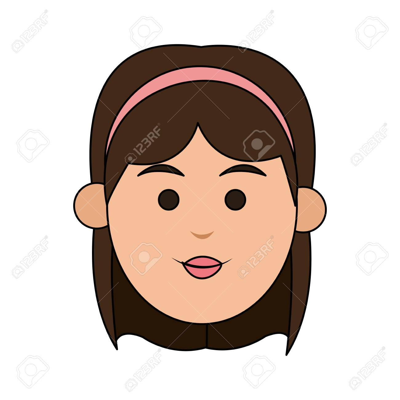 Young Woman With Short Hair And Headband Icon Image Vector