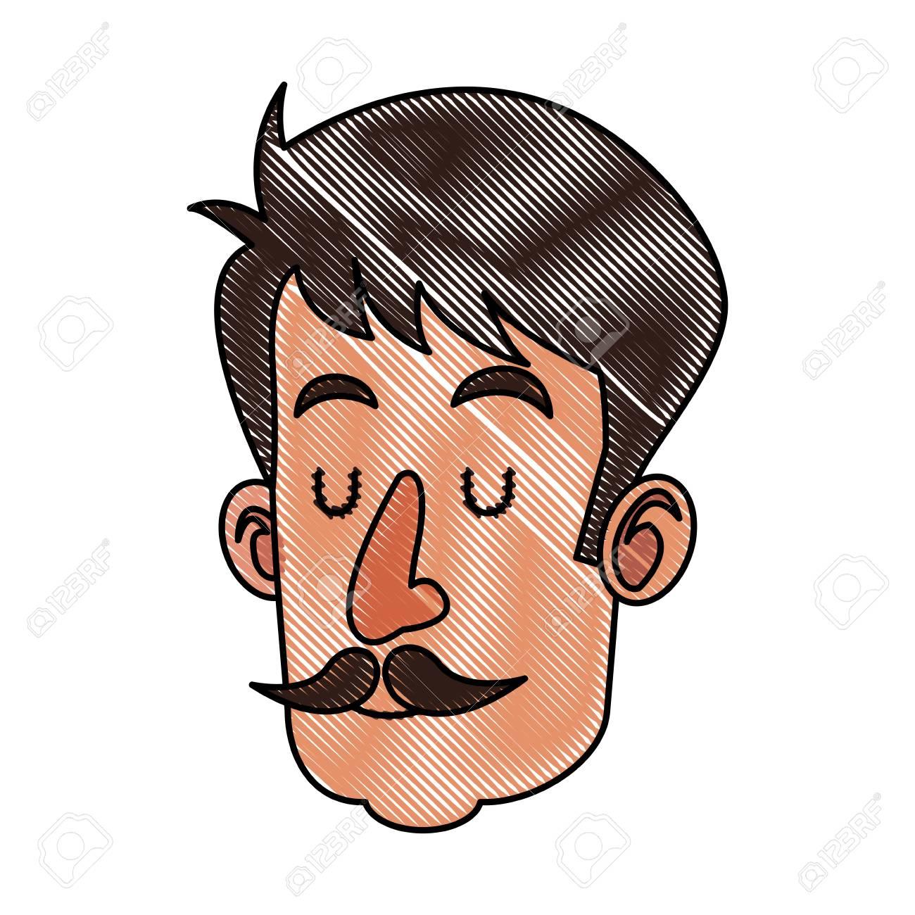 Dibujo Cabeza Hombre Con Bigote Ojos Cerrados Ilustración Vectorial