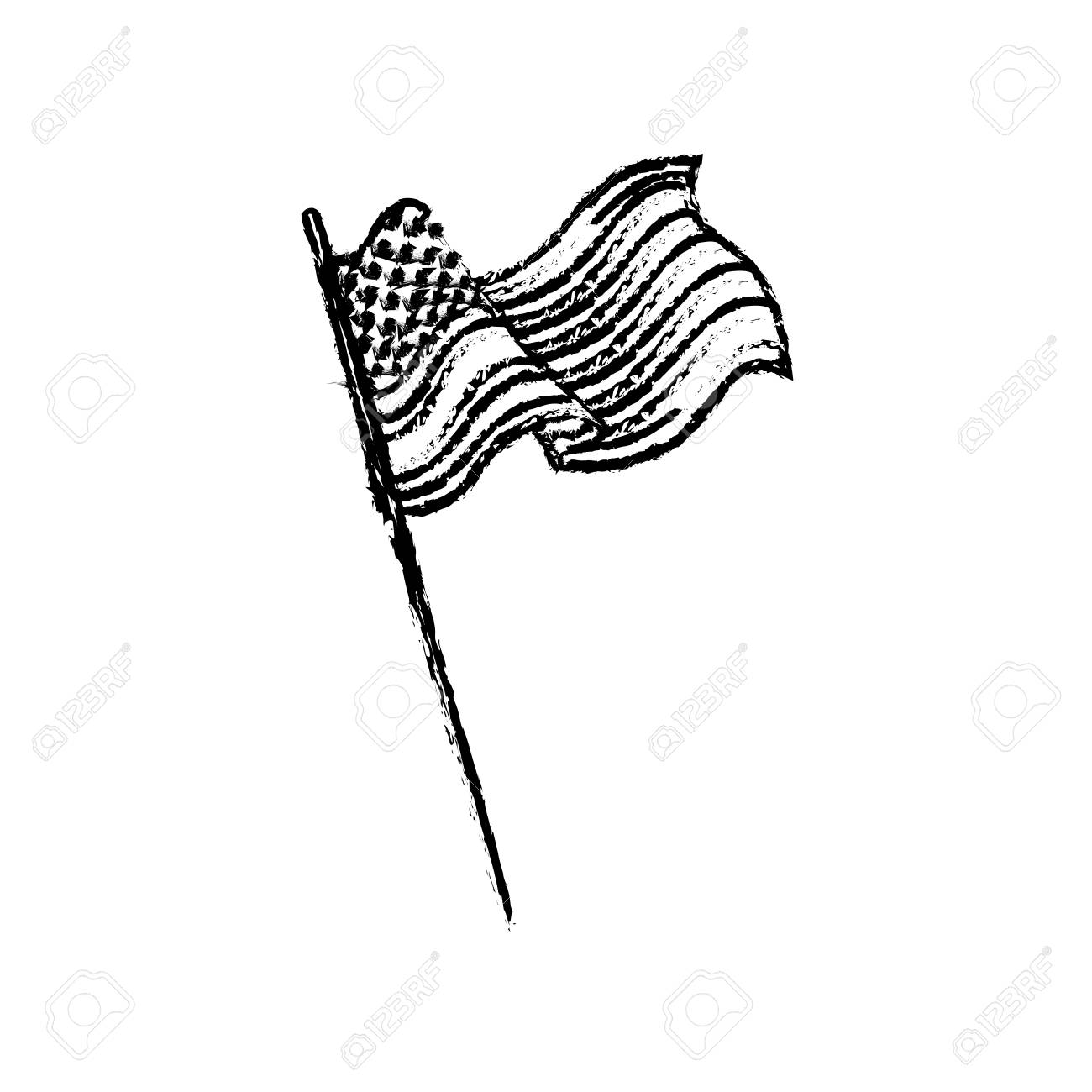 United States Of America Flag Waving Sketch Vector Illustration