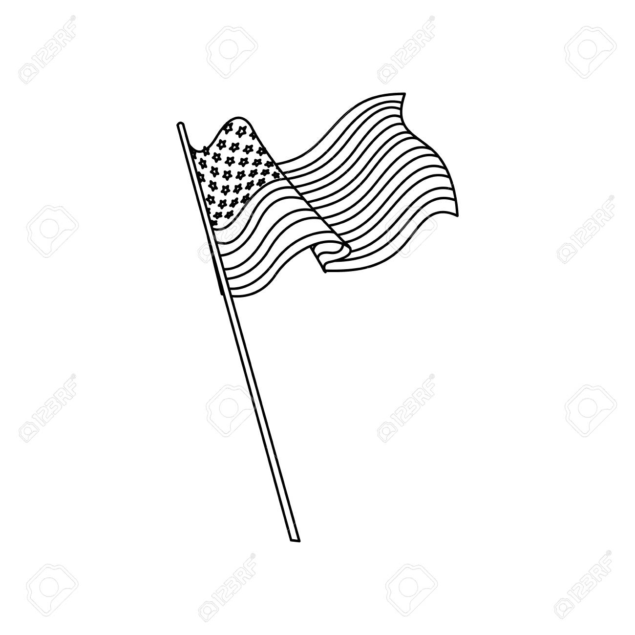 United States Of America Flag Waving National Line Vector