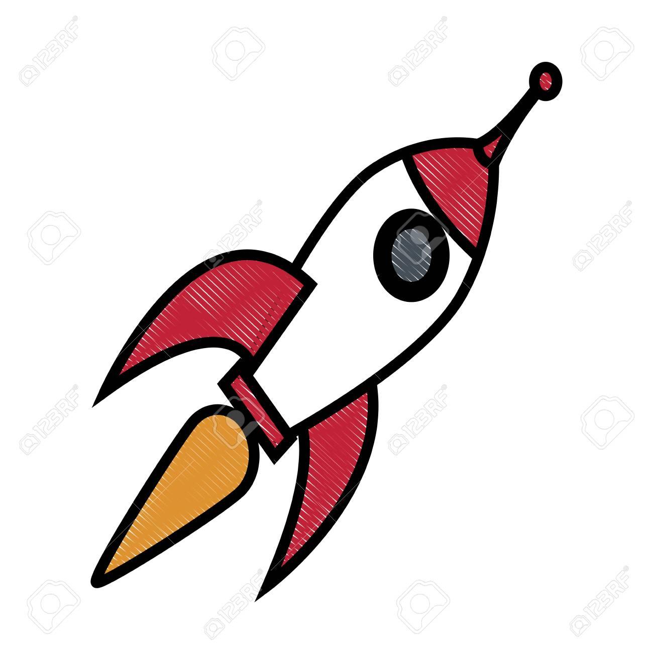Dessin Fusée Technologie Science Créativité Conception Illustration Vectorielle