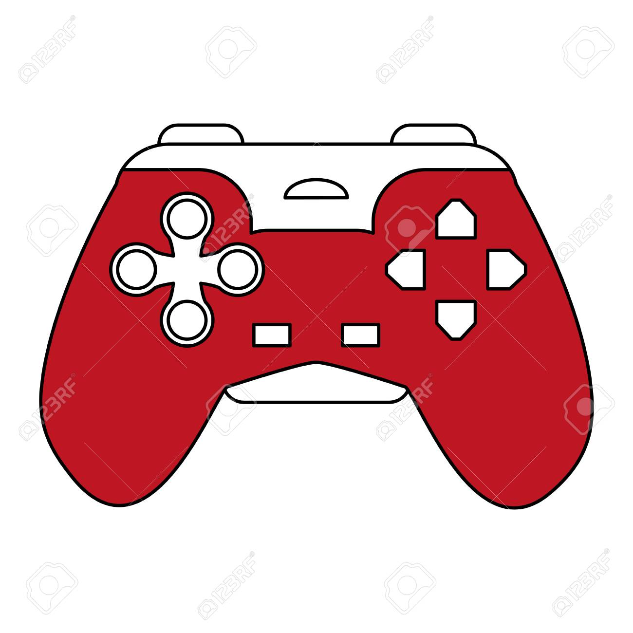 Sketch Color Silhouette Control For Video Games Vector Illustration