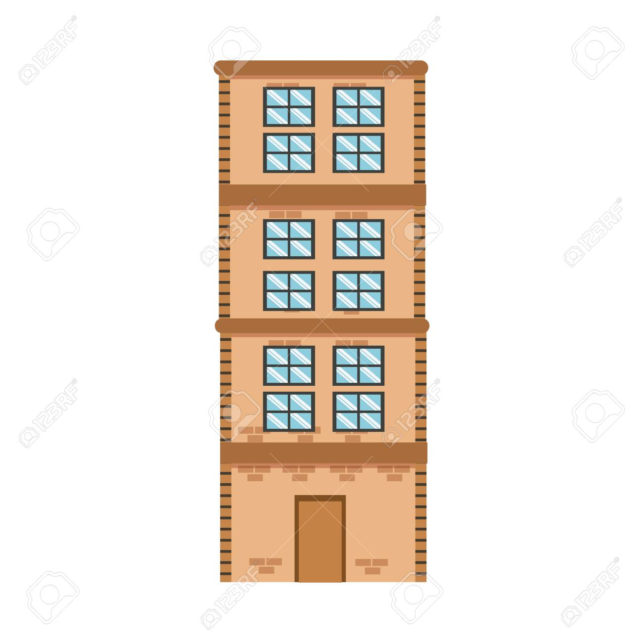 High Building Brick Apartment Residential Vector Illustration. Stock Vector    77097054