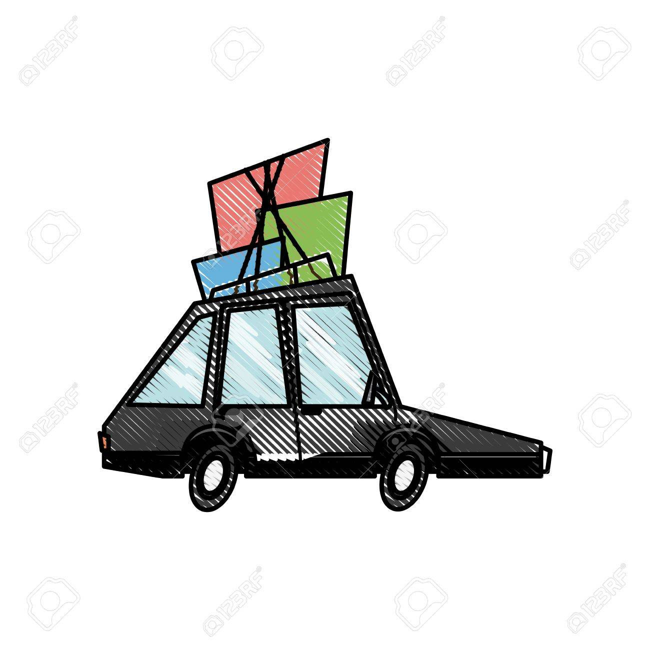 Drawing Car Transport Family Package Tourism Vector Illustration ...