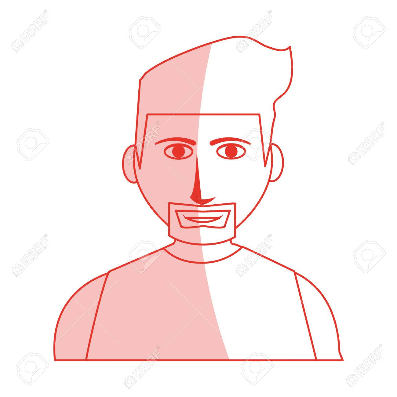 Dessin Corps Homme rouge, silhouette, ombre, dessin animé, demi-corps, homme, musclé