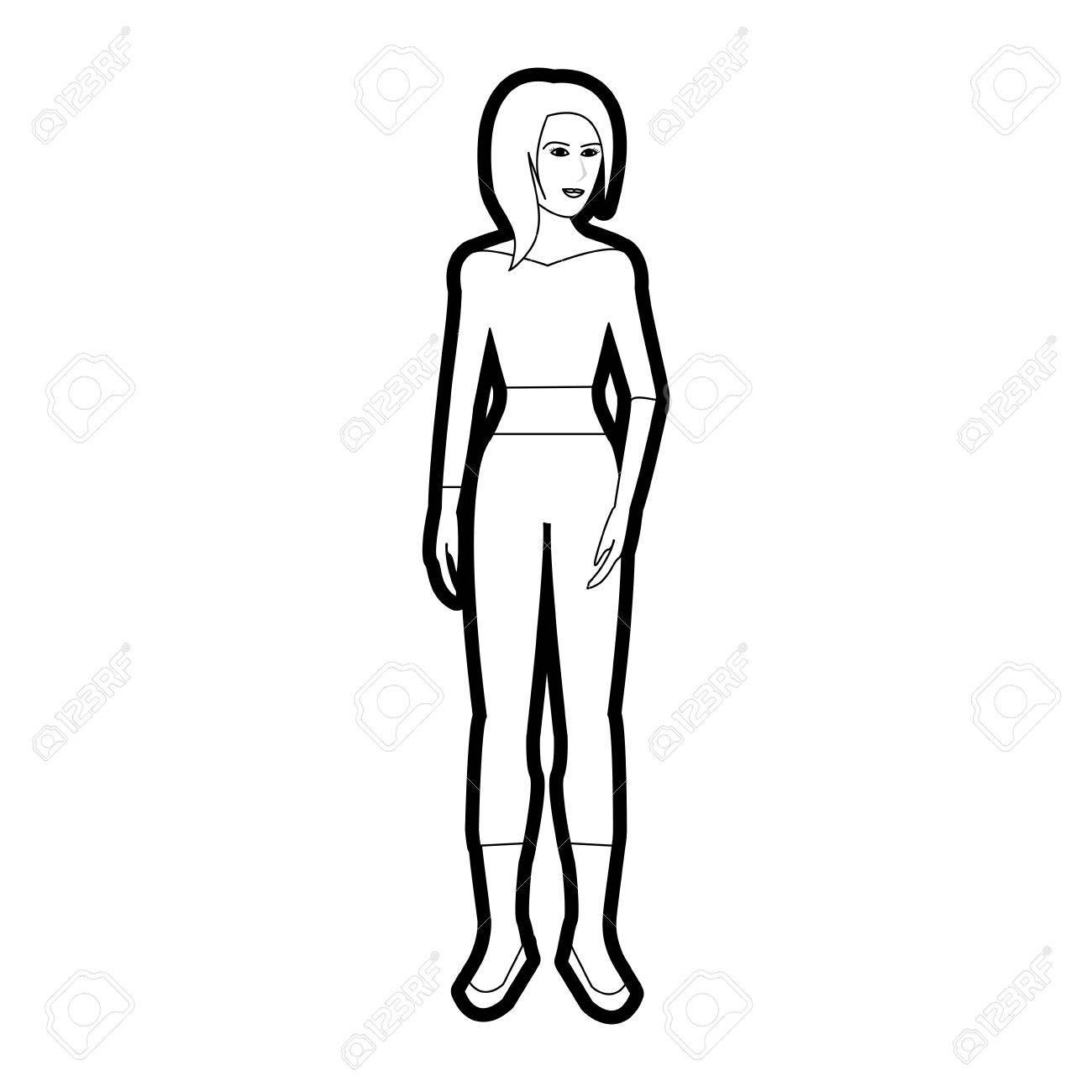 Negro Silueta De Dibujos Animados Mujer De Cuerpo Entero Con ...