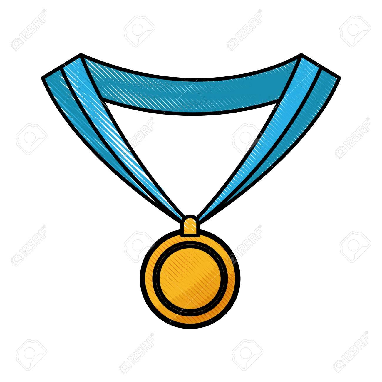 drawing medal award win sport image vector illustration royalty free