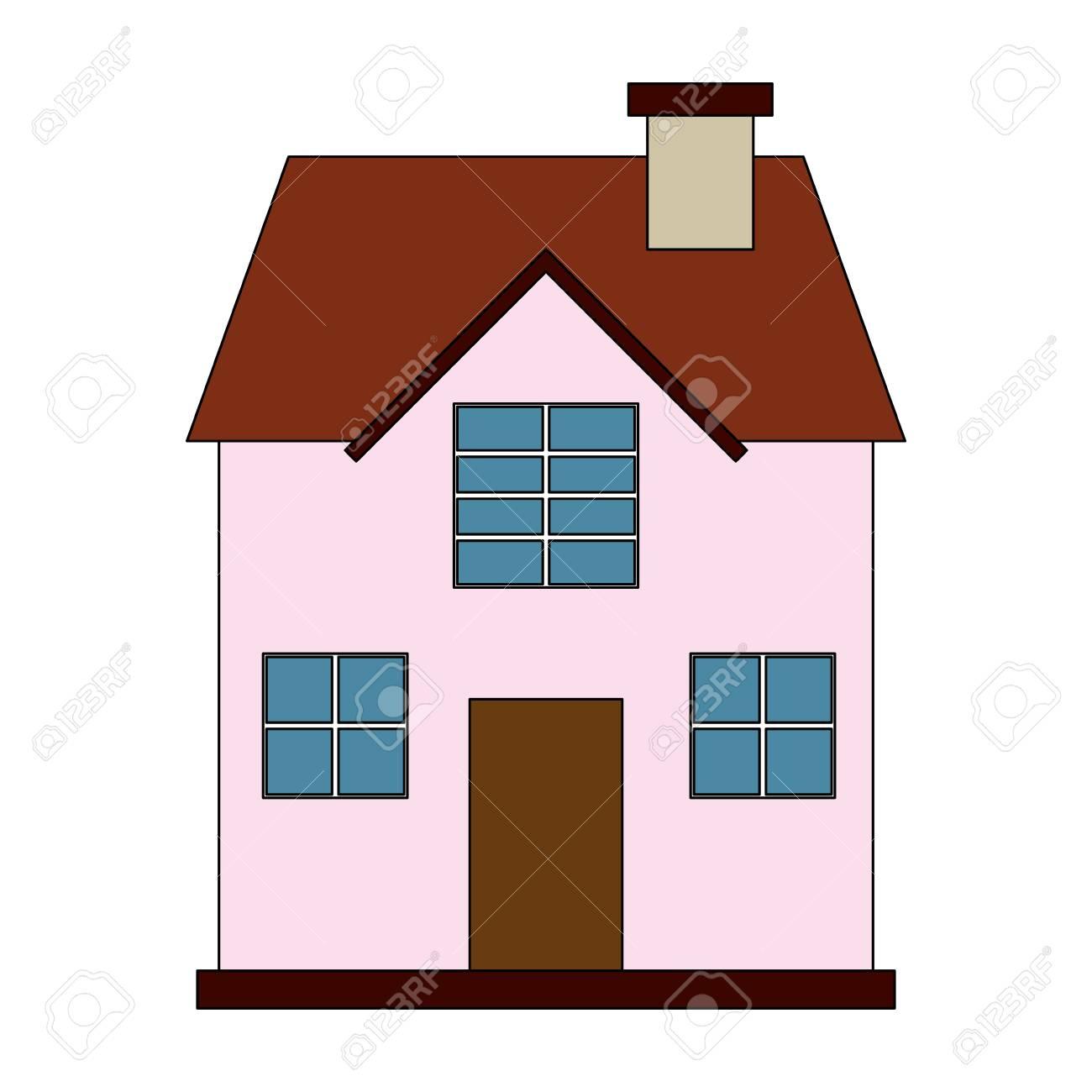 Imagen En Color De Dibujos Animados Fachada Confortable Casa Con Dos Pisos En Ilustración Vectorial