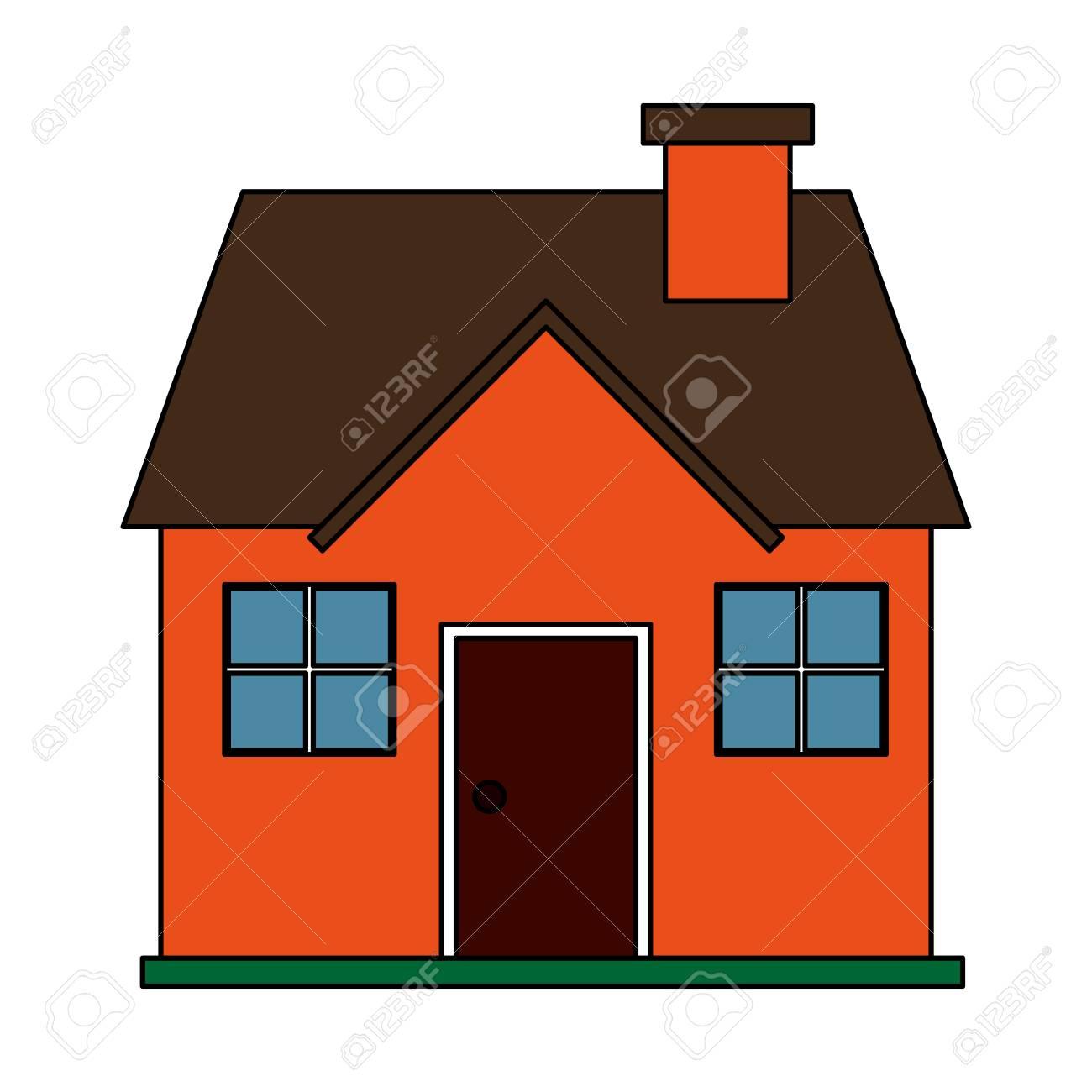 Imagen En Color De Dibujos Animados Fachada Confortable Casa Con Chimenea En Ilustración Vectorial
