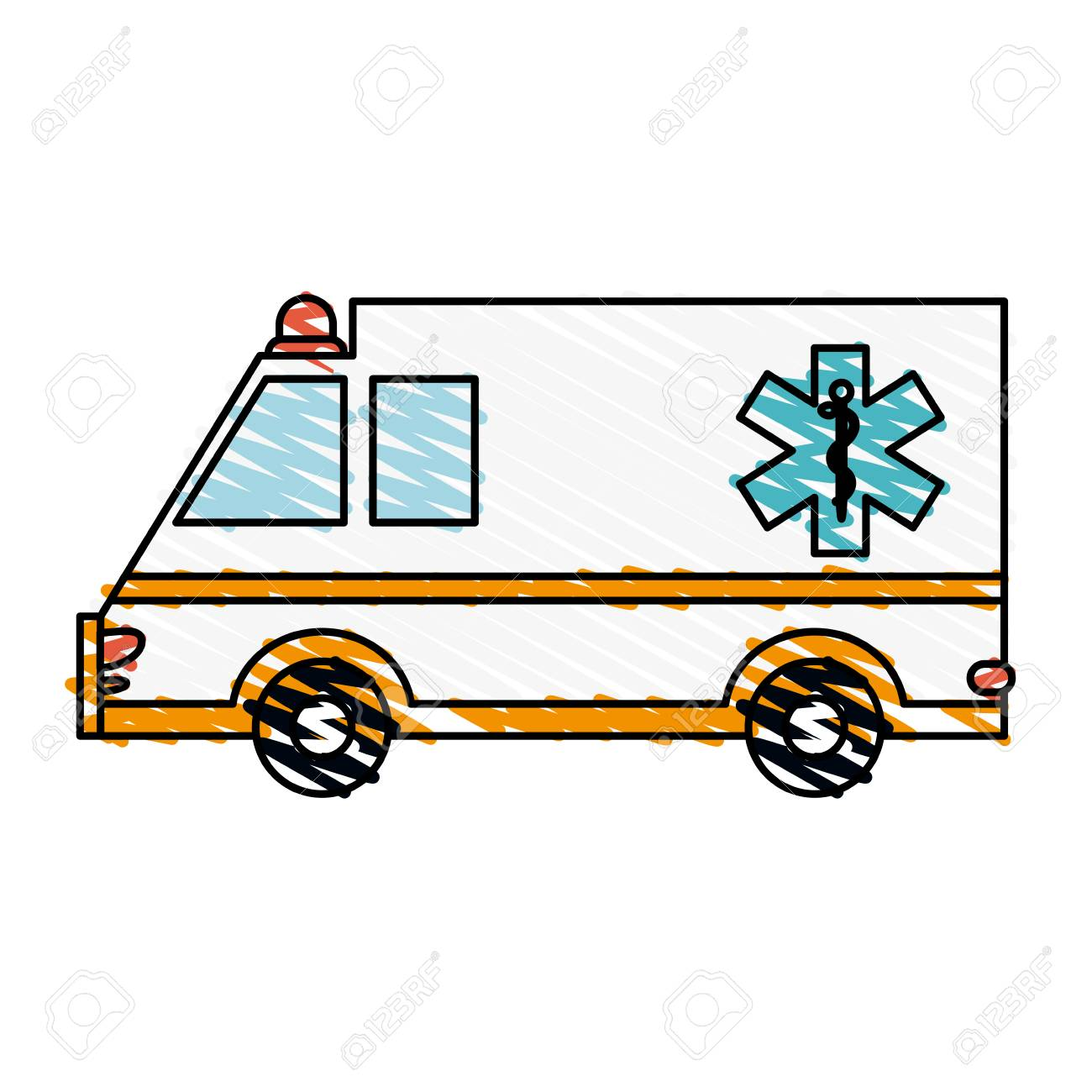 color crayon stripe cartoon ambulance truck with medical symbol