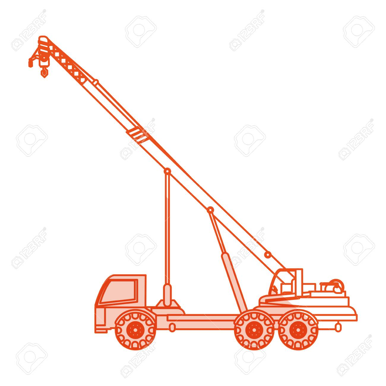 Orange Silhouette Ombrage Dessin Anime Construction Grue Camion
