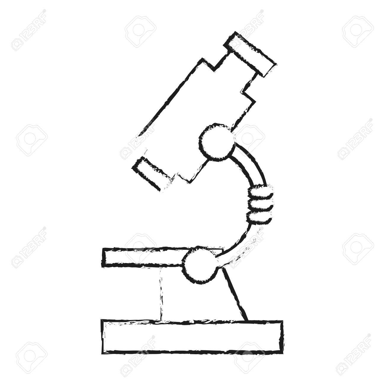 Black Blurred Silhouette Cartoon Microscope Science Tool Vector Illustration Stock
