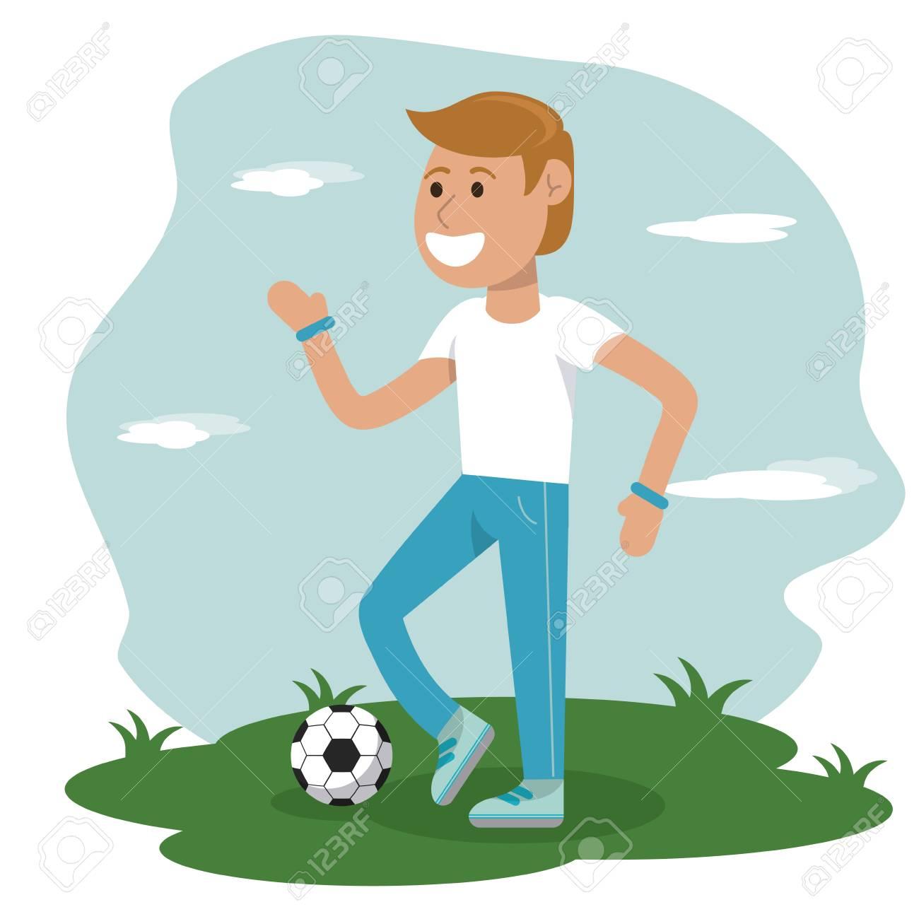 Educación Física Niño Jugando Fútbol Deporte Escuela Vector