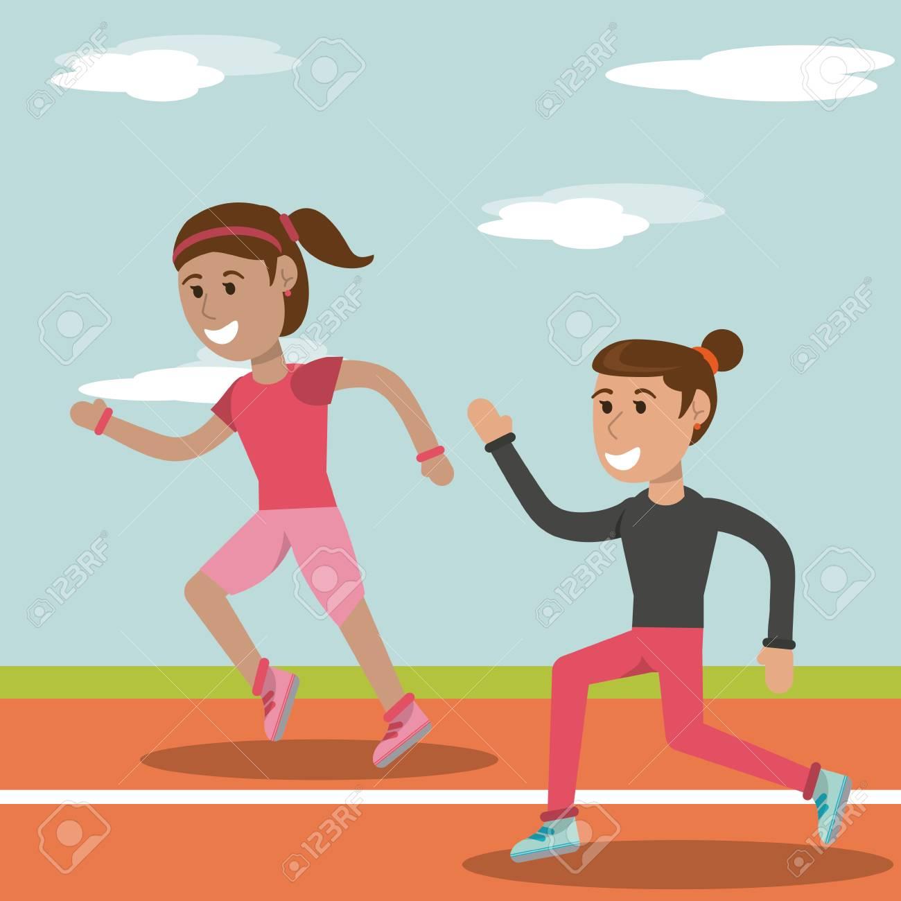 Chica De Dibujos Animados Corriendo Ilustración De Vector De Imagen