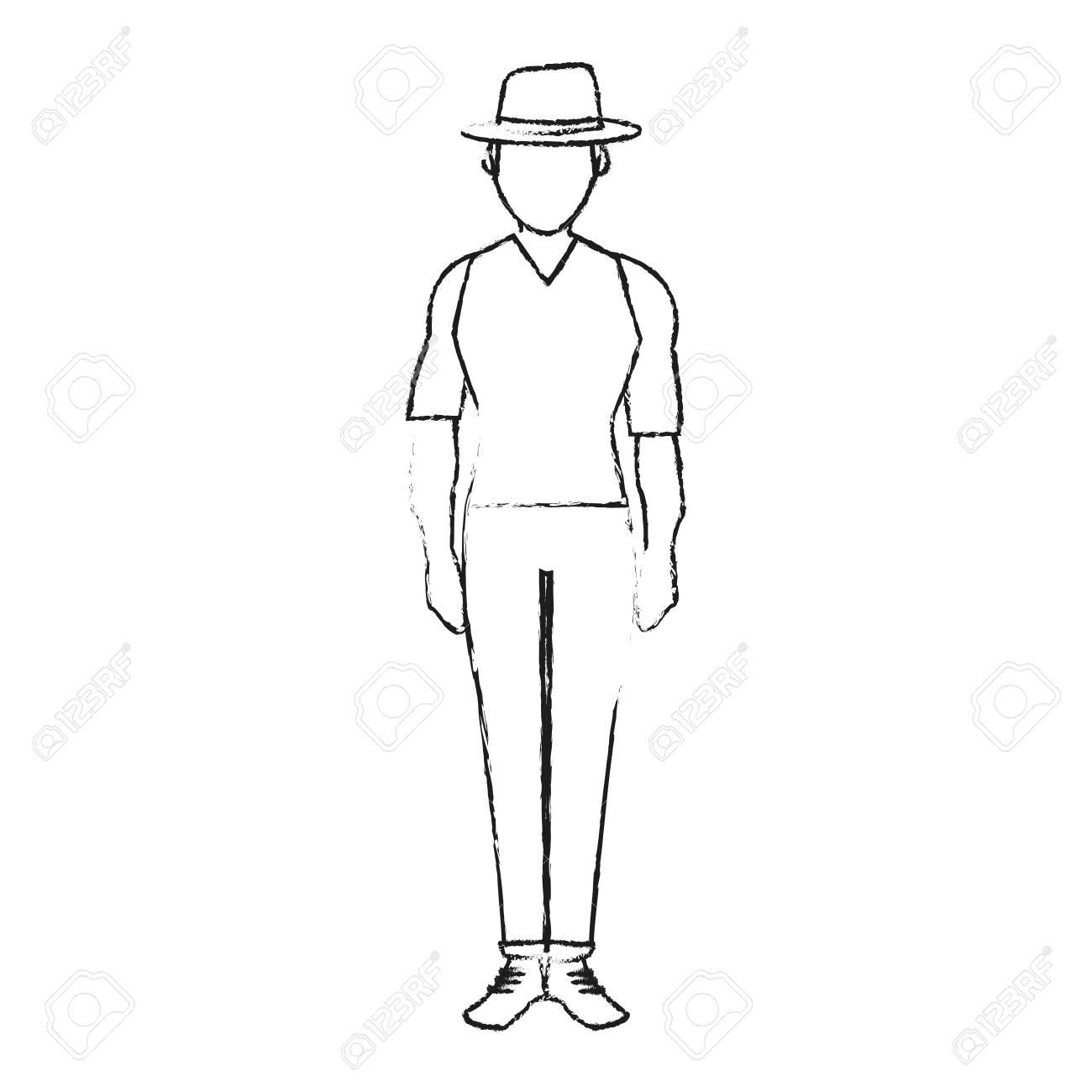 Blurred silhouette full body faceless explorer man with hat vector illustration stock vector 77260387