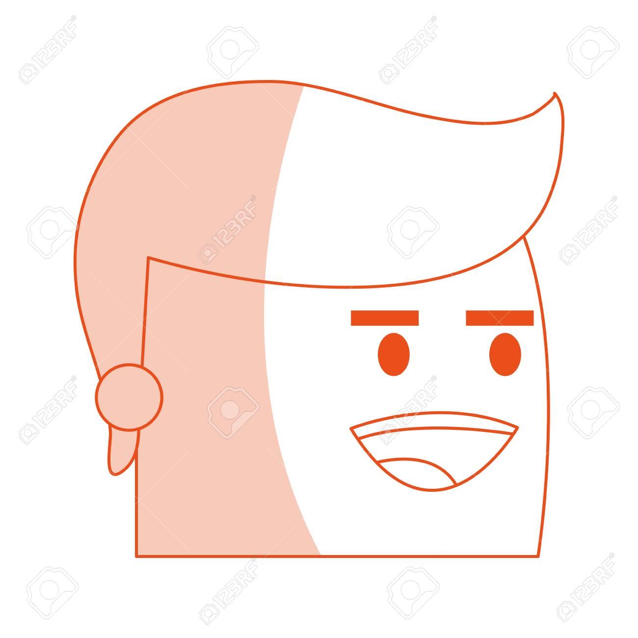 赤いシルエット画像サイド ビュー顔漫画男笑顔式ベクトル イラストの