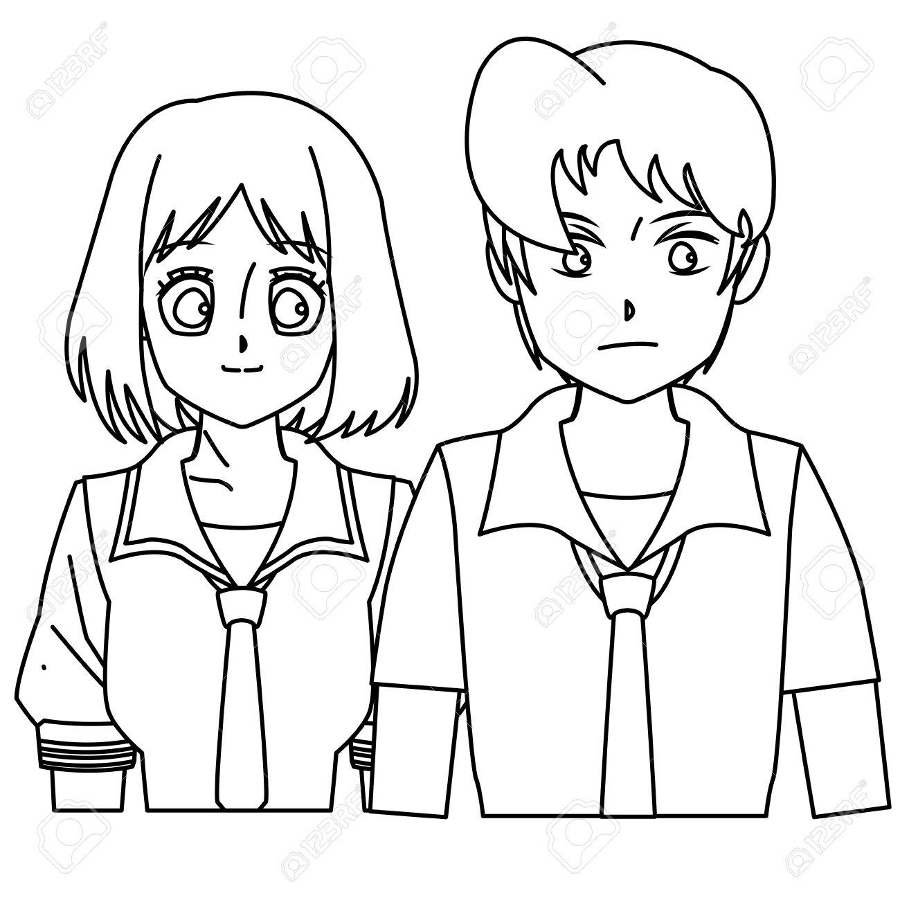 Tudiant Fille Garçon Anime Dessin Animé Contour Vecteur Illustration