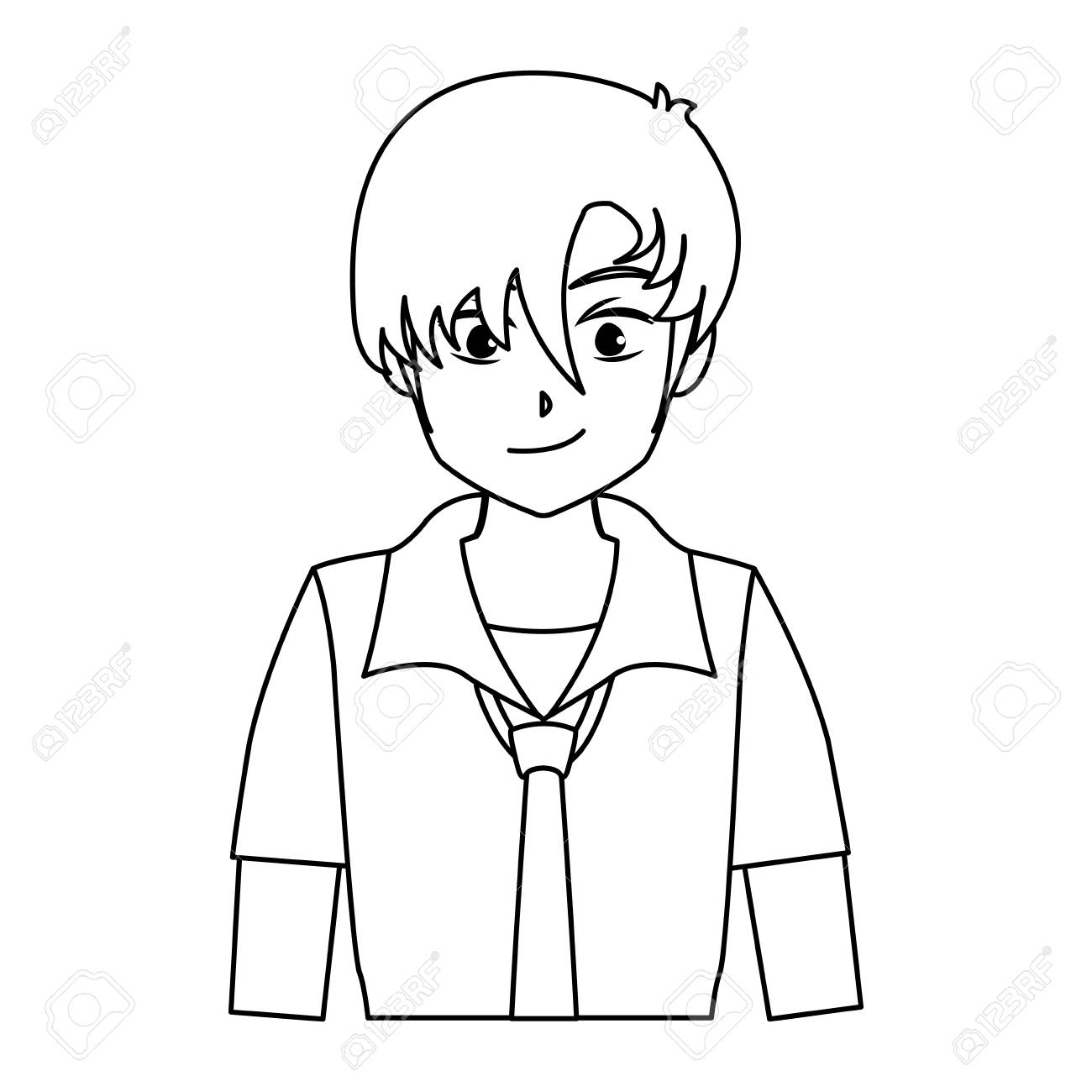 Character boy anime teenager outline vector illustration