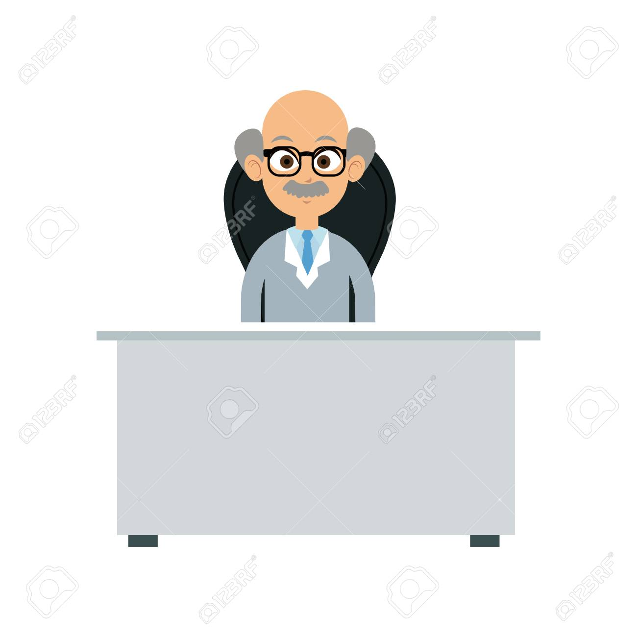 Incredible Character Doctor Sitting Desk And Chair Vector Illustration Creativecarmelina Interior Chair Design Creativecarmelinacom