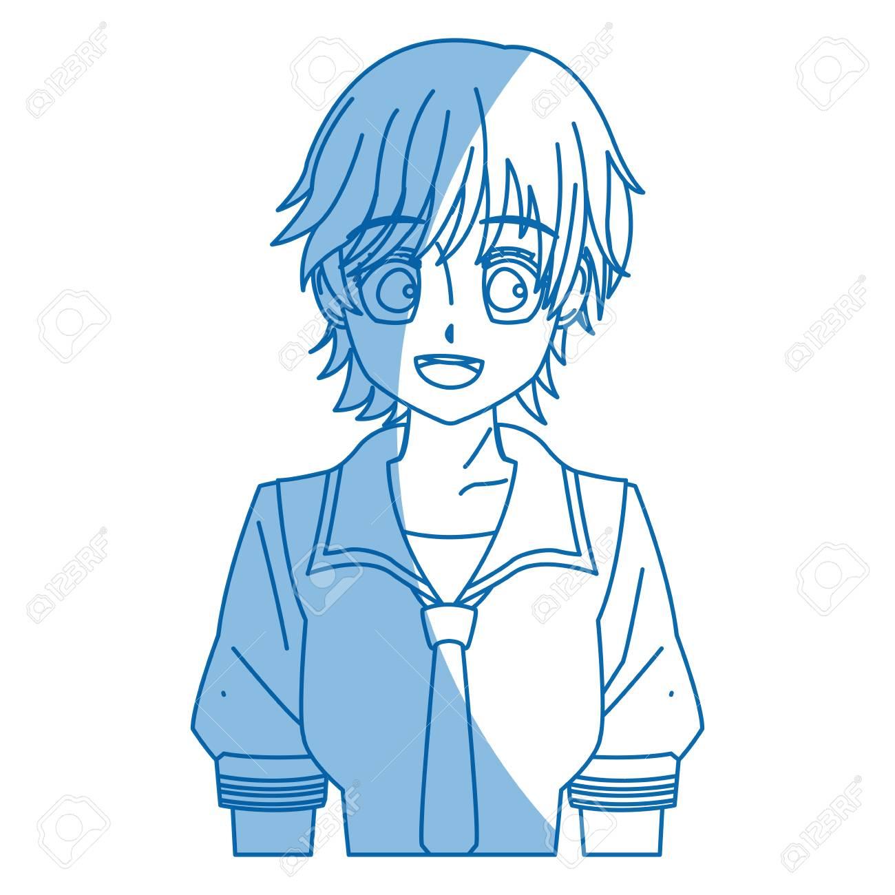 Girl teenager anime manga character vector illustration stock vector 77624796
