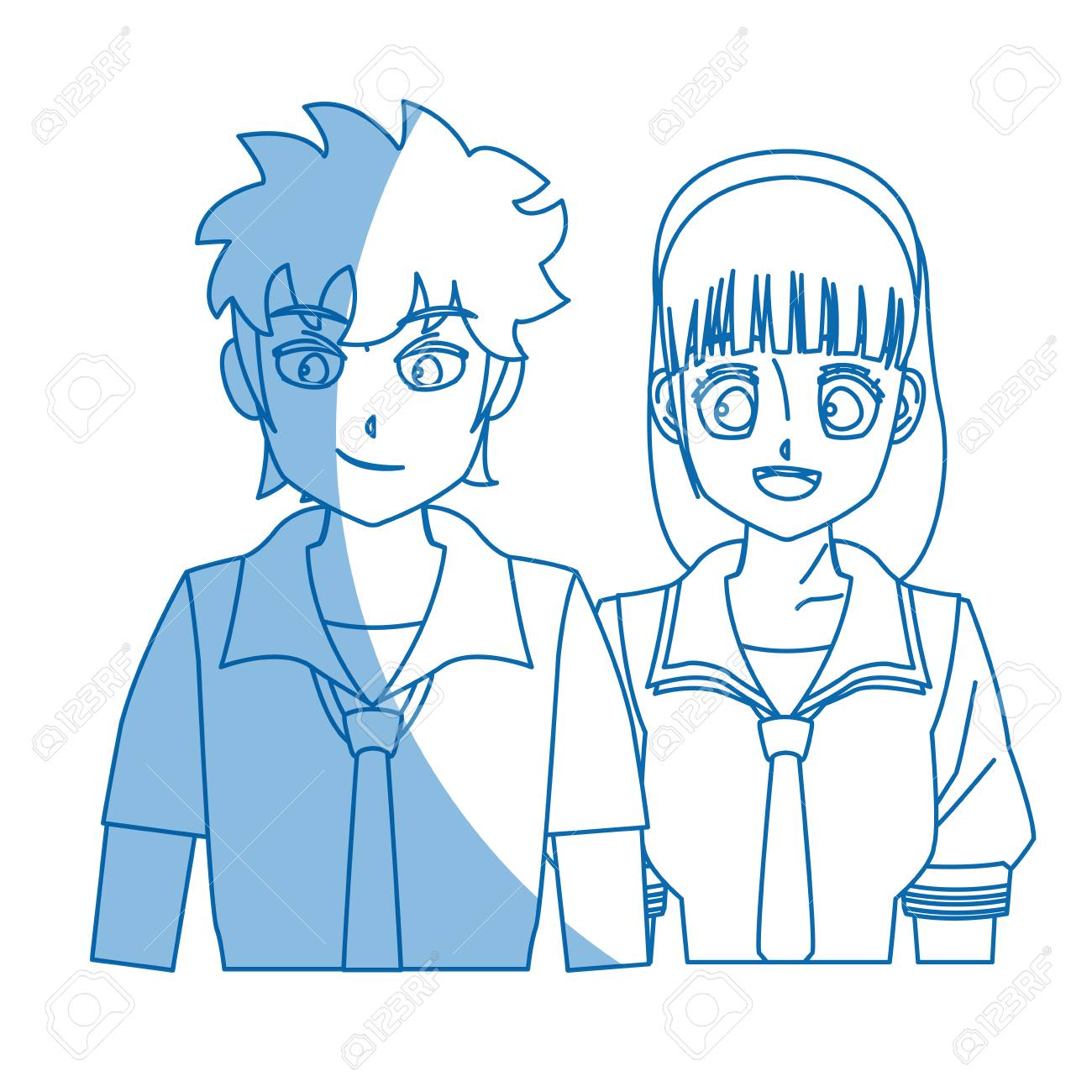 Anime Boy And Girl teenager anime boy and girl hair style vector illustration