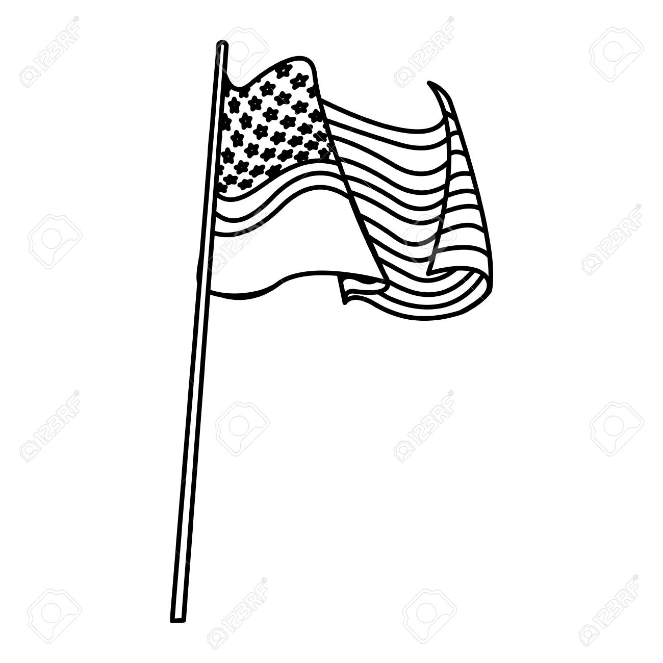 United States Of America Flag Waving Pole Line Vector Illustration