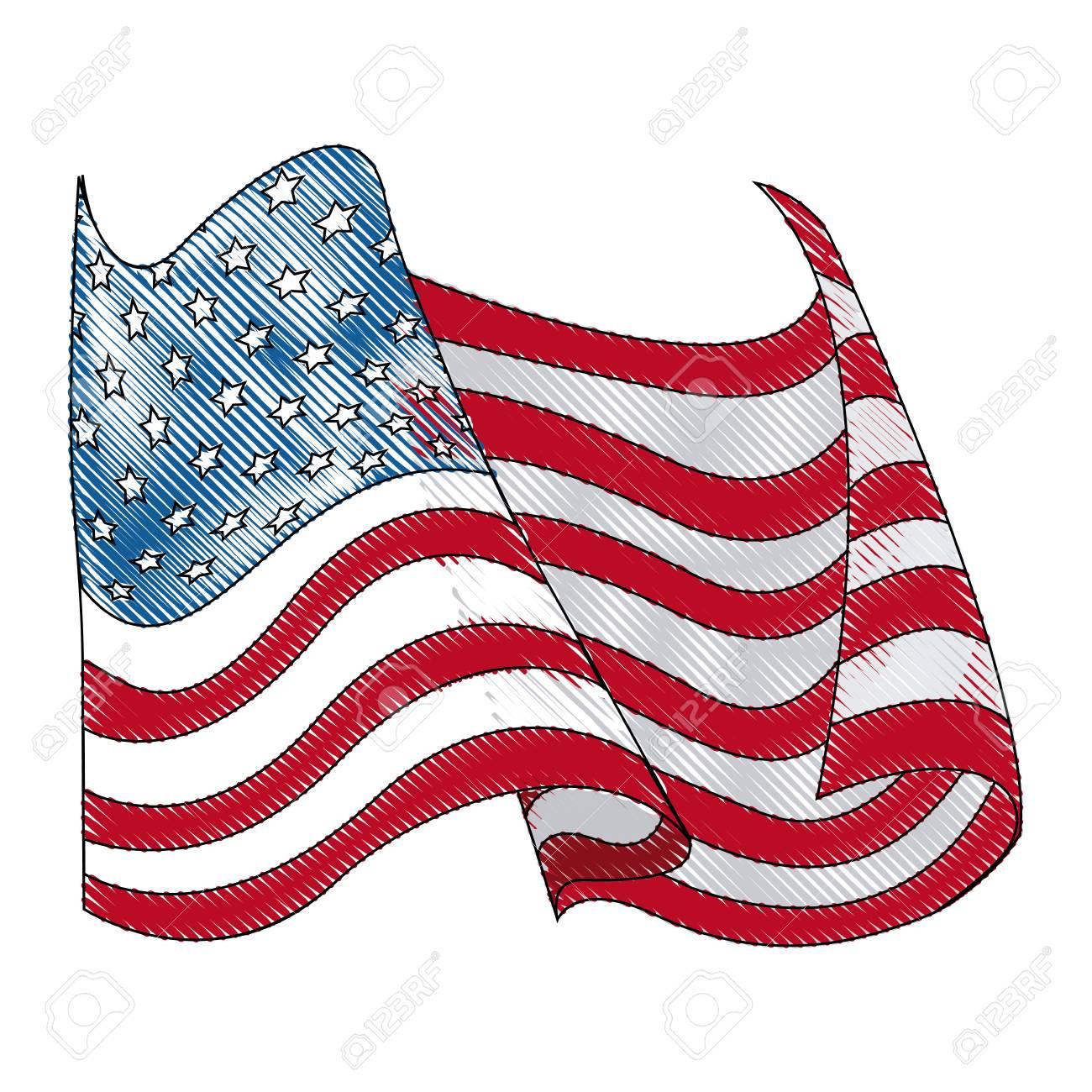 Dibujo Ilustración De Vector De Onda De Bandera De Estados Unidos De América