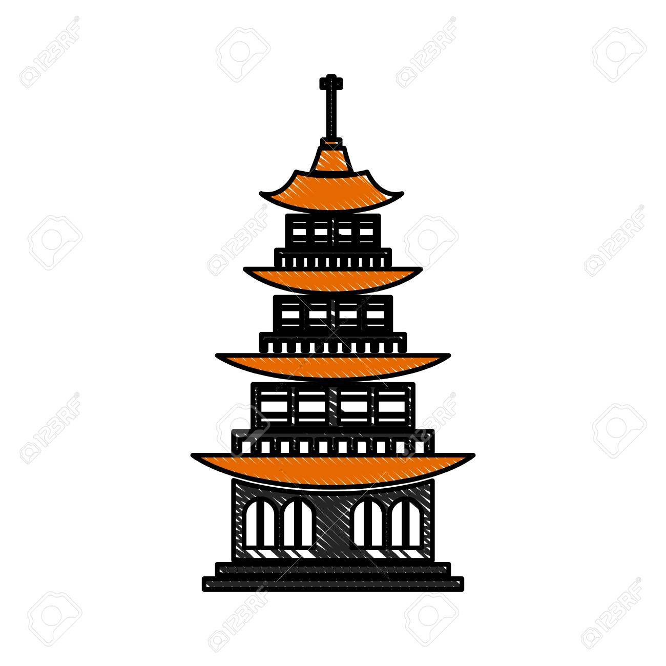 Drawing Chinese Building Ancient Temple Tower Pagoda Vector