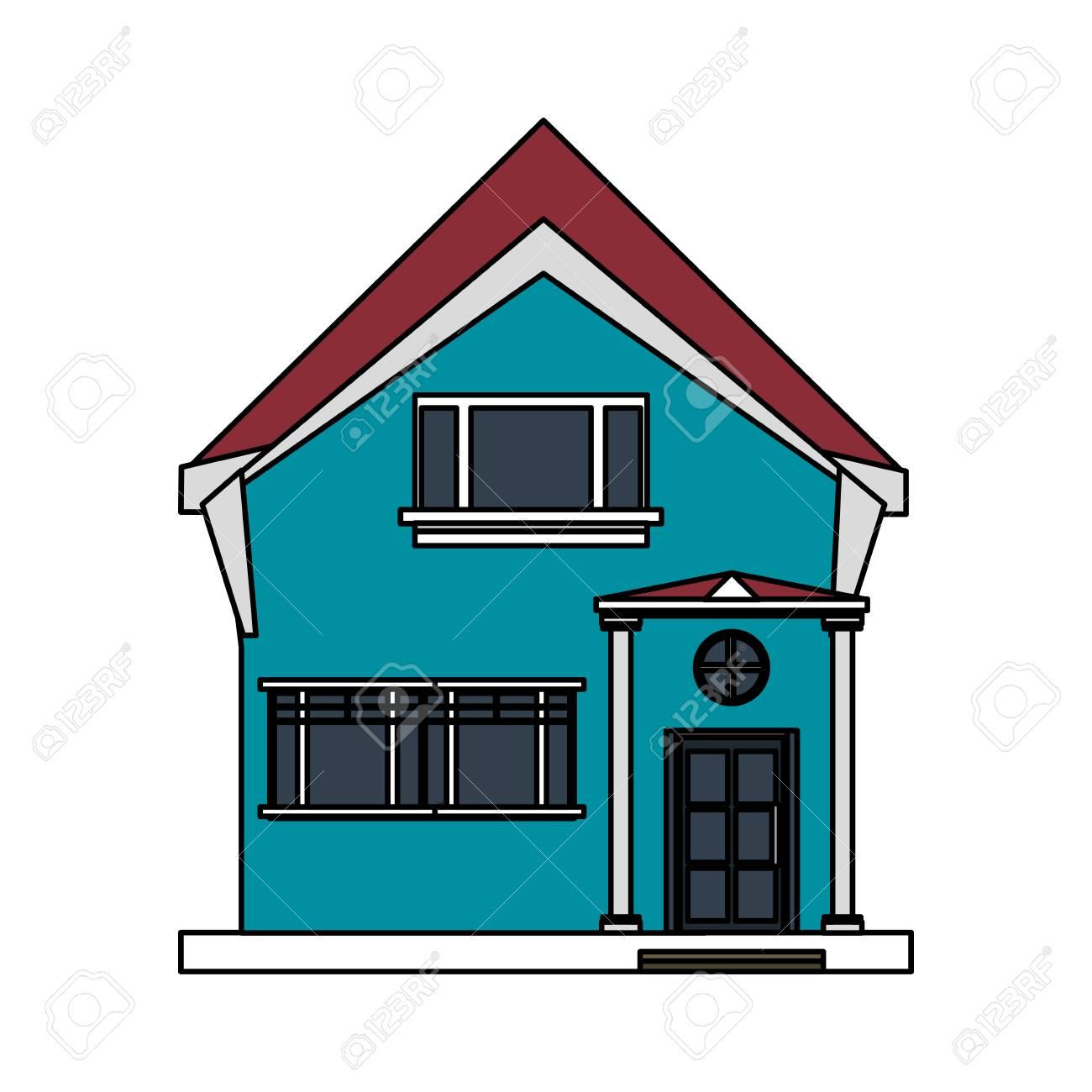 Bunte Bild Cartoon Fassade Unregelmäßige Struktur Haus Mit Modernen ...