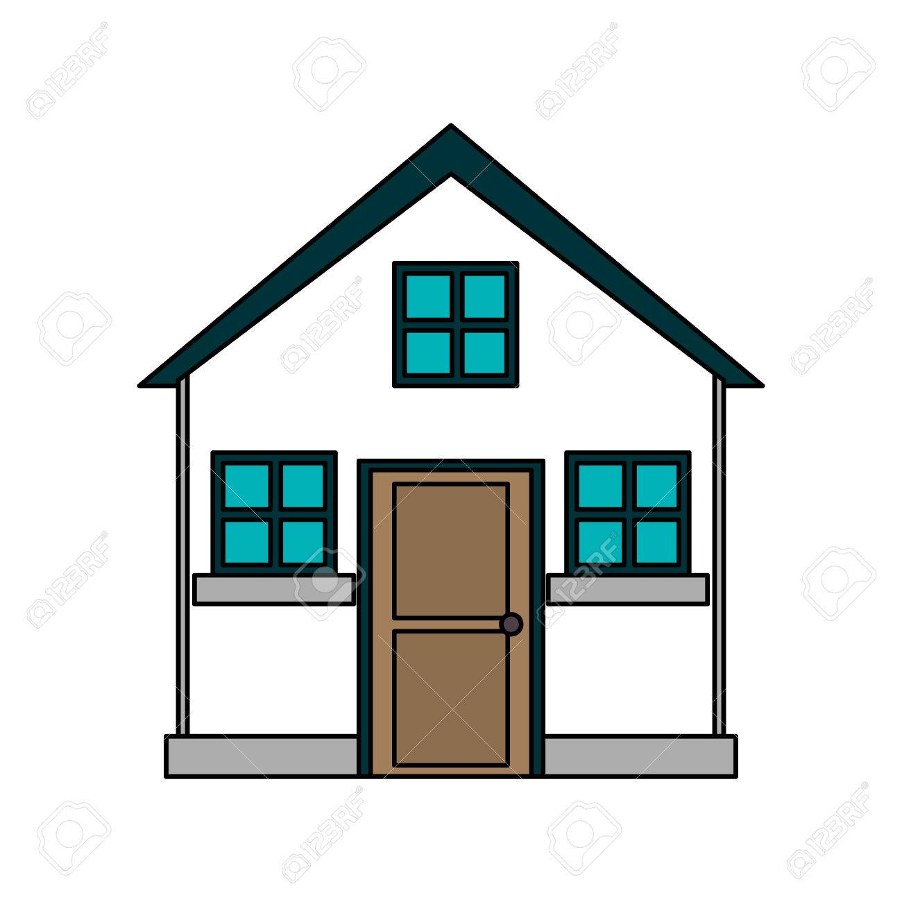 colorful image cartoon facade comfortable small house with attic vector illustration stock vector 77700491 - Small House With Attic