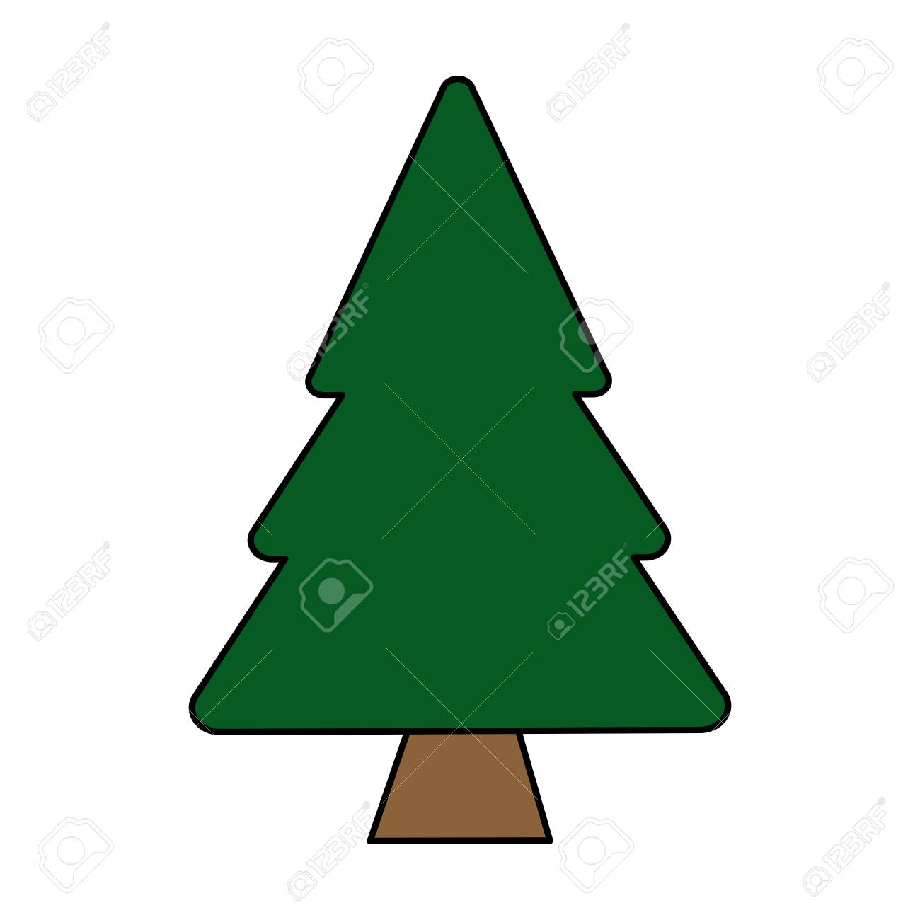 Colorful Image Cartoon Pine Tree Vector Illustration Stock