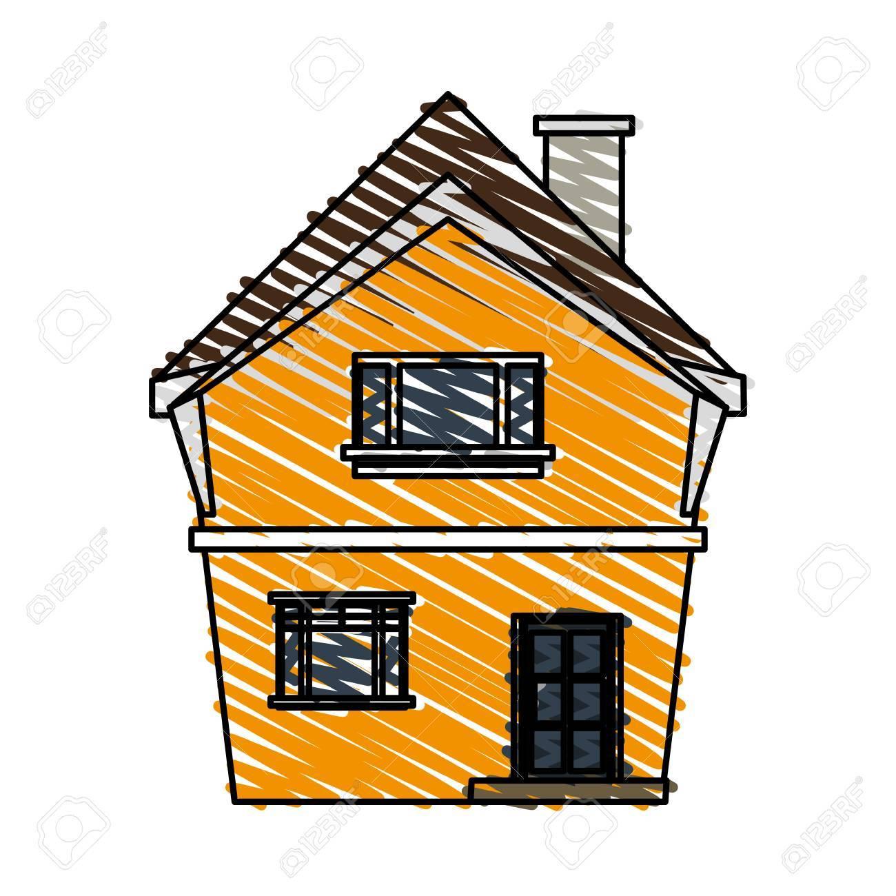 Banque dimages couleur crayon bande dessinée dessin animé façade structure irrégulière maison avec illustration vectorielle de cheminée