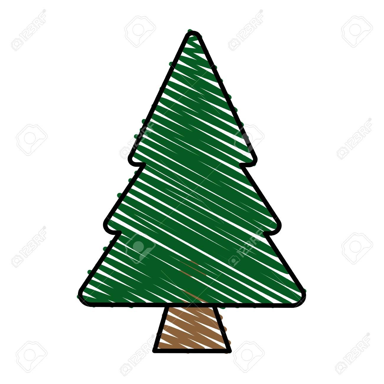 Color Raya Raya Dibujos Animados Pino árbol Ilustración Vectorial