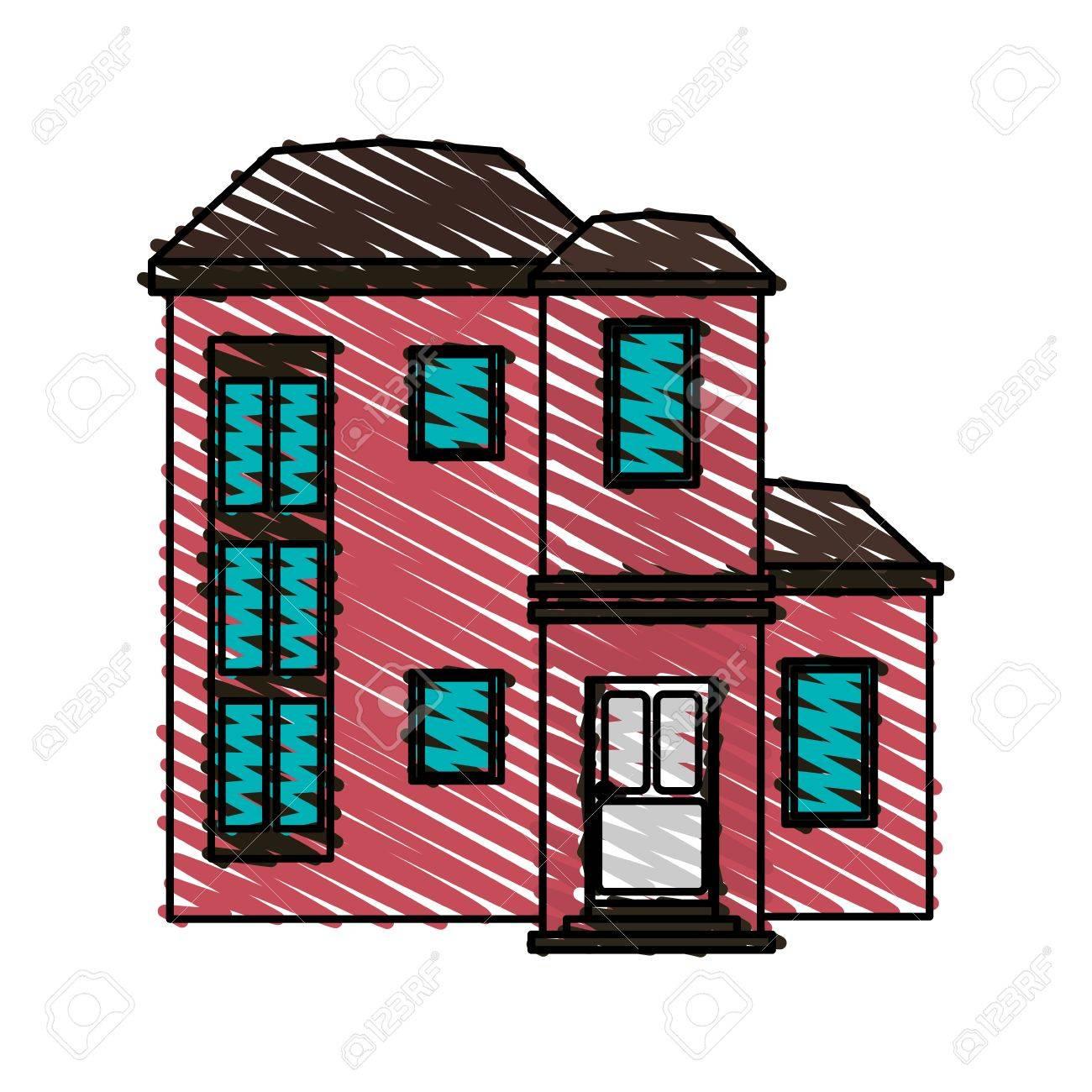 Color Crayon Stripe Cartoon Facade Modern Style Residential House ...
