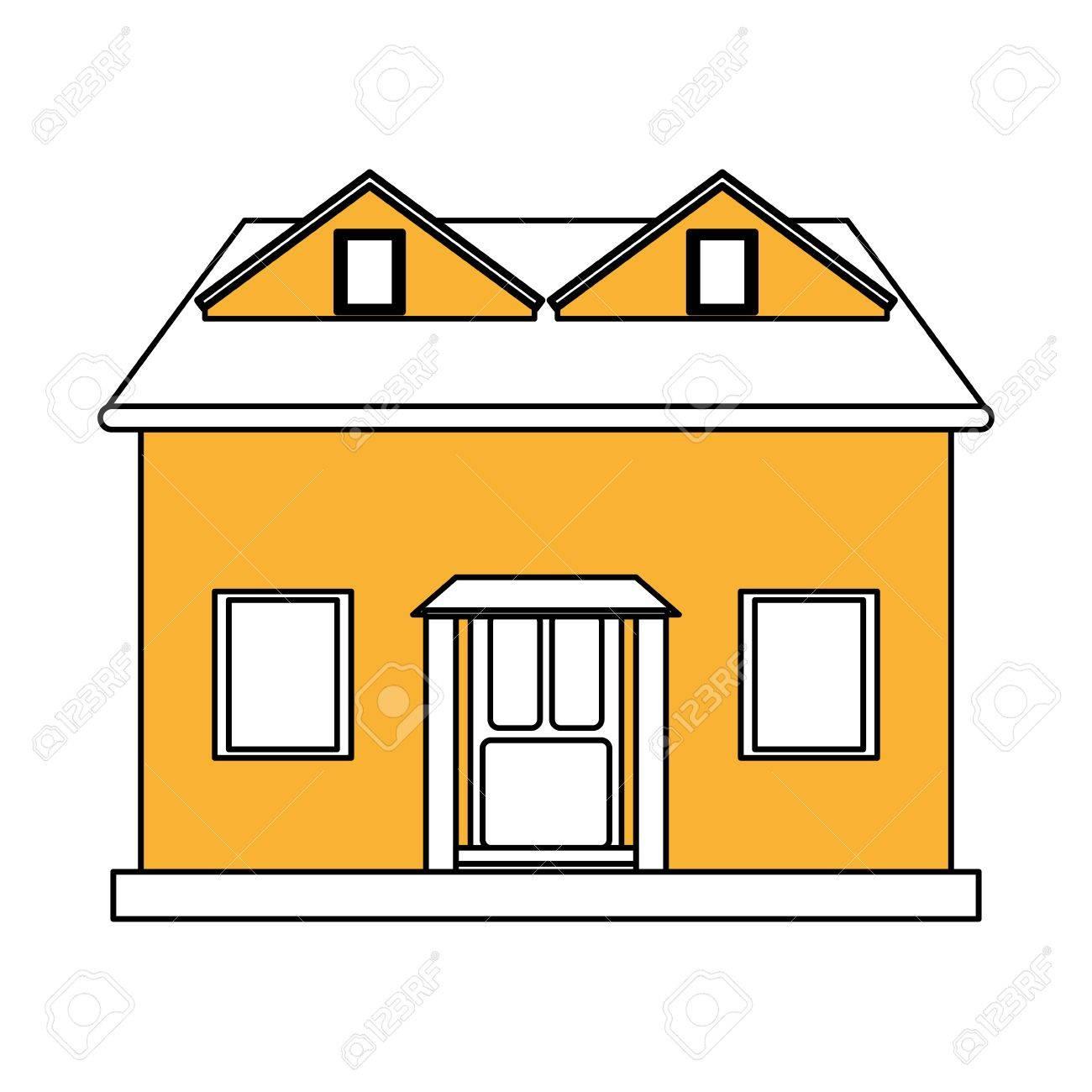 Casa De Fachada De Dibujos Animados De Color Amarillo Con Ilustración De Vector De ático