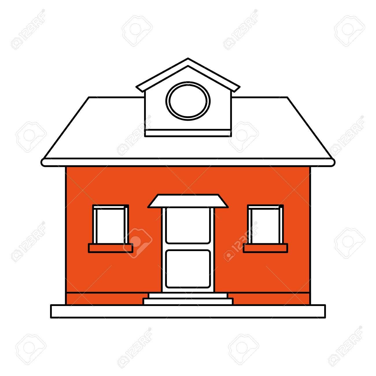 Banque dimages silhouette de couleur dessin animé façade orange maison confortable avec grenier illustration vectorielle