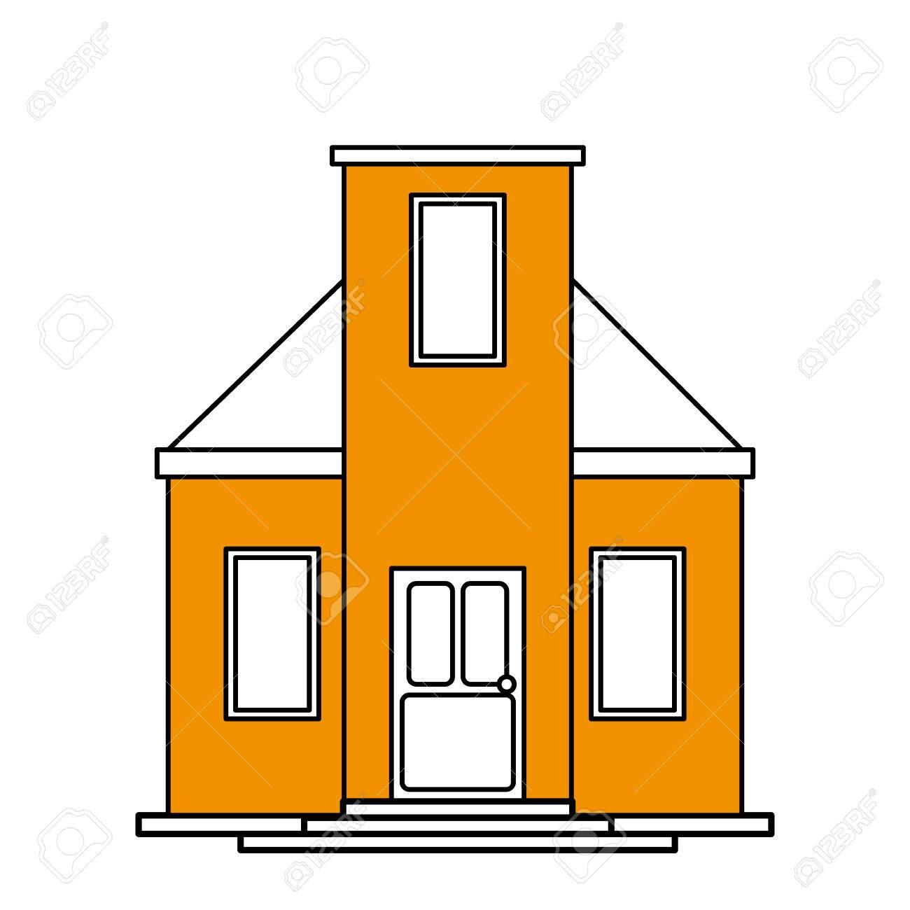 Couleur Silhouette Dessin Animé Jaune Façade Style Maison Moderne Sans Toit Vecteur Illustration