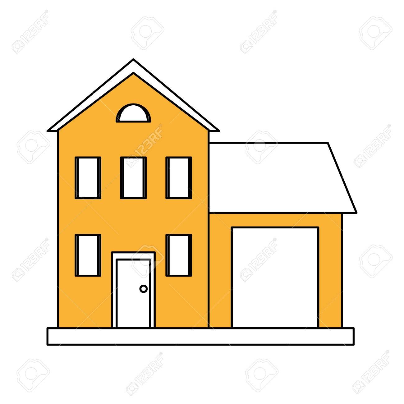 Color Silueta Dibujos Animados Amarillo Fachada Dos Pisos De La Casa Con Ilustración De Vector De Garaje