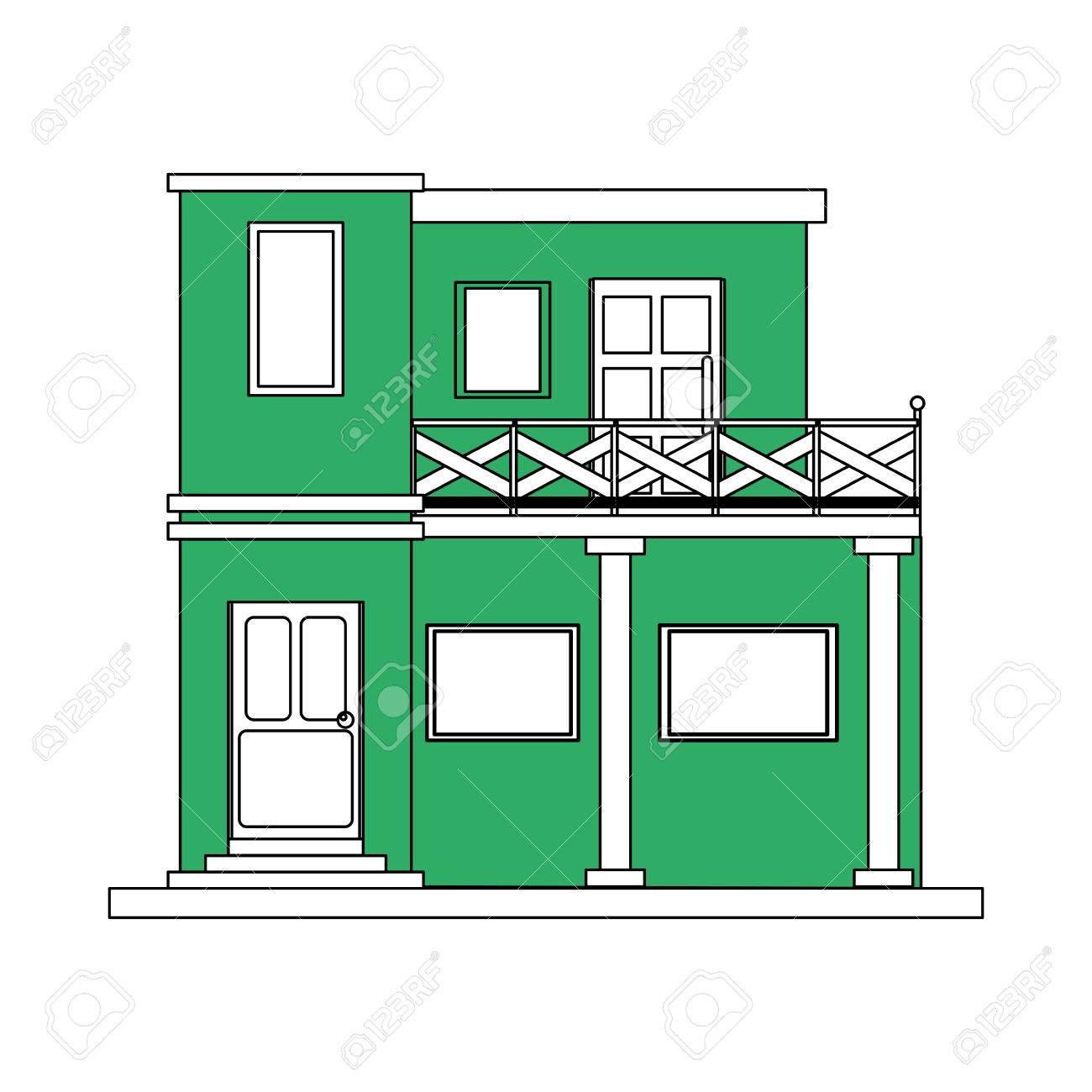 Silhouette De Couleur Dessin Animé Façade Verte Style De Maison Moderne Avec Deux étages Et Balcon Illustration Vectorielle