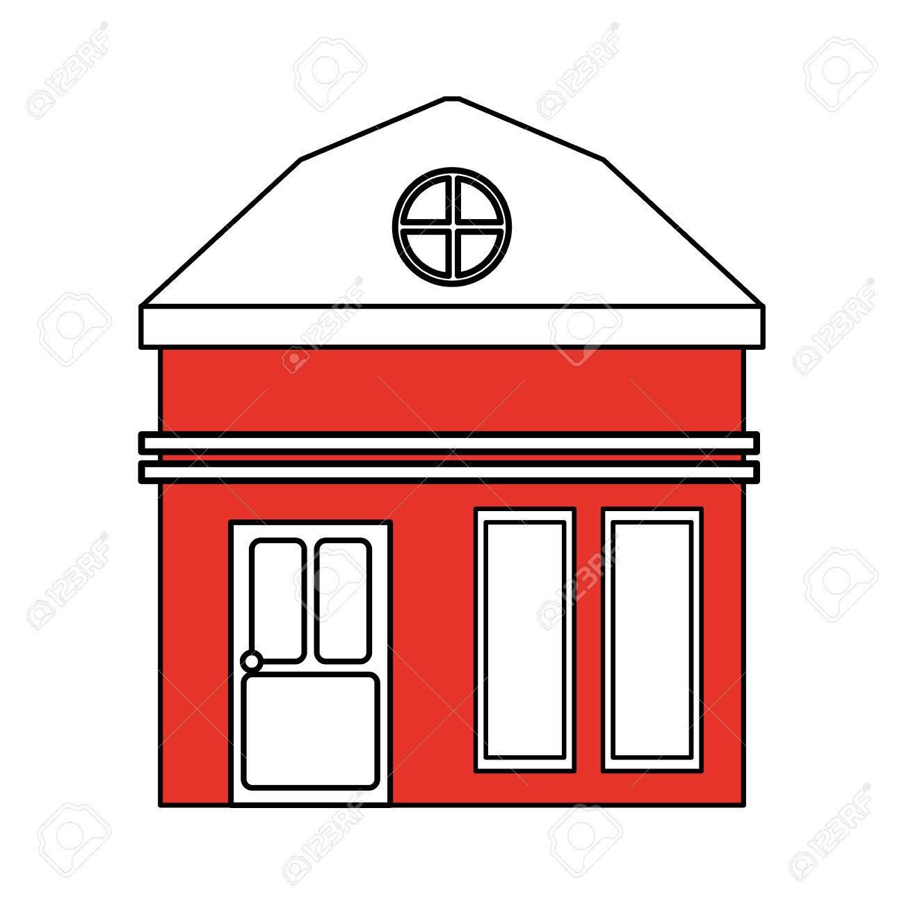 Banque dimages couleur silhouette dessin animé façade rouge petite maison avec illustration vectorielle grenier