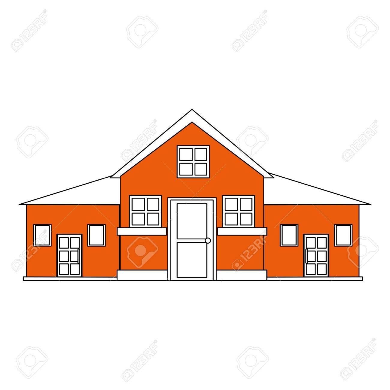 Couleur Silhouette Dessin Anime Orange Facade Grande Maison Confortable Avec Deux Etages Vector Illustration Clip Art Libres De Droits Vecteurs Et Illustration Image 77700971