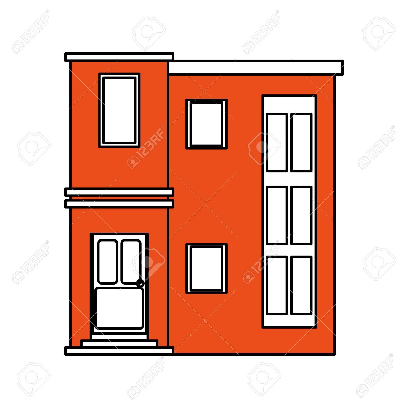 Couleur Silhouette Dessin Animé Orange Façade Style Moderne Résidentiel Maison Vecteur Illustration
