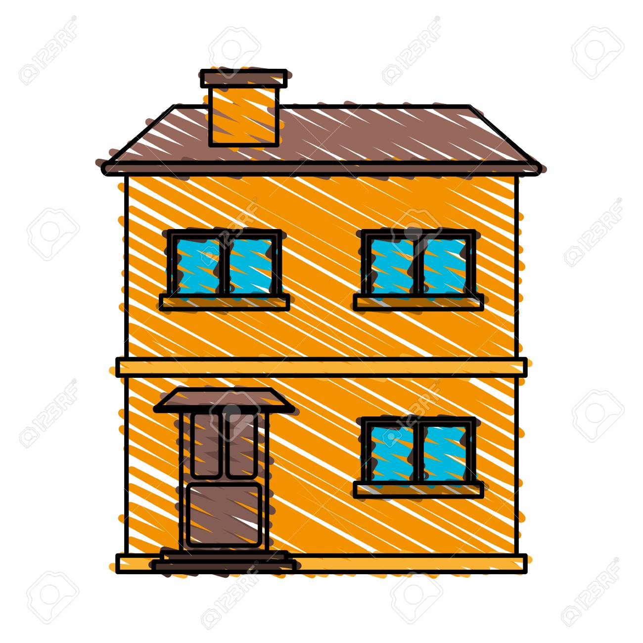 Color Crayón Raya Dibujos Animados Fachada Cómoda Casa Con Dos Pisos Ilustración Vectorial
