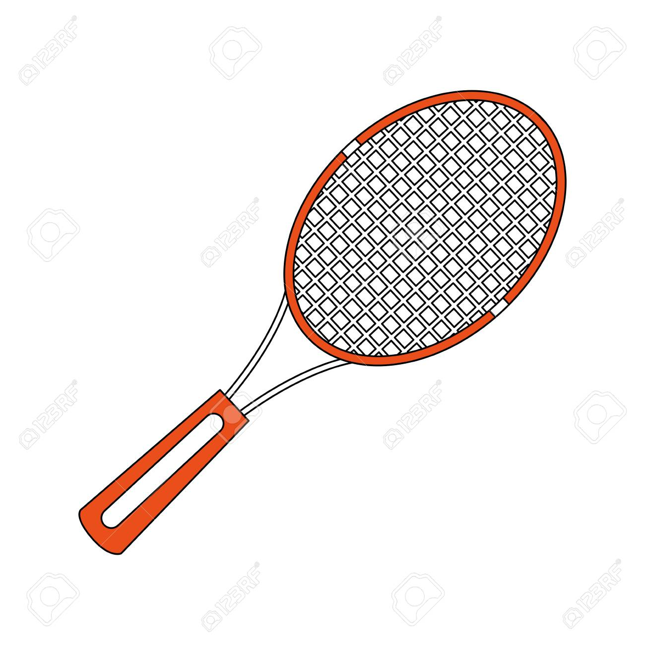 Color Silhouette Cartoon Tennis Racquet With Handle Vector