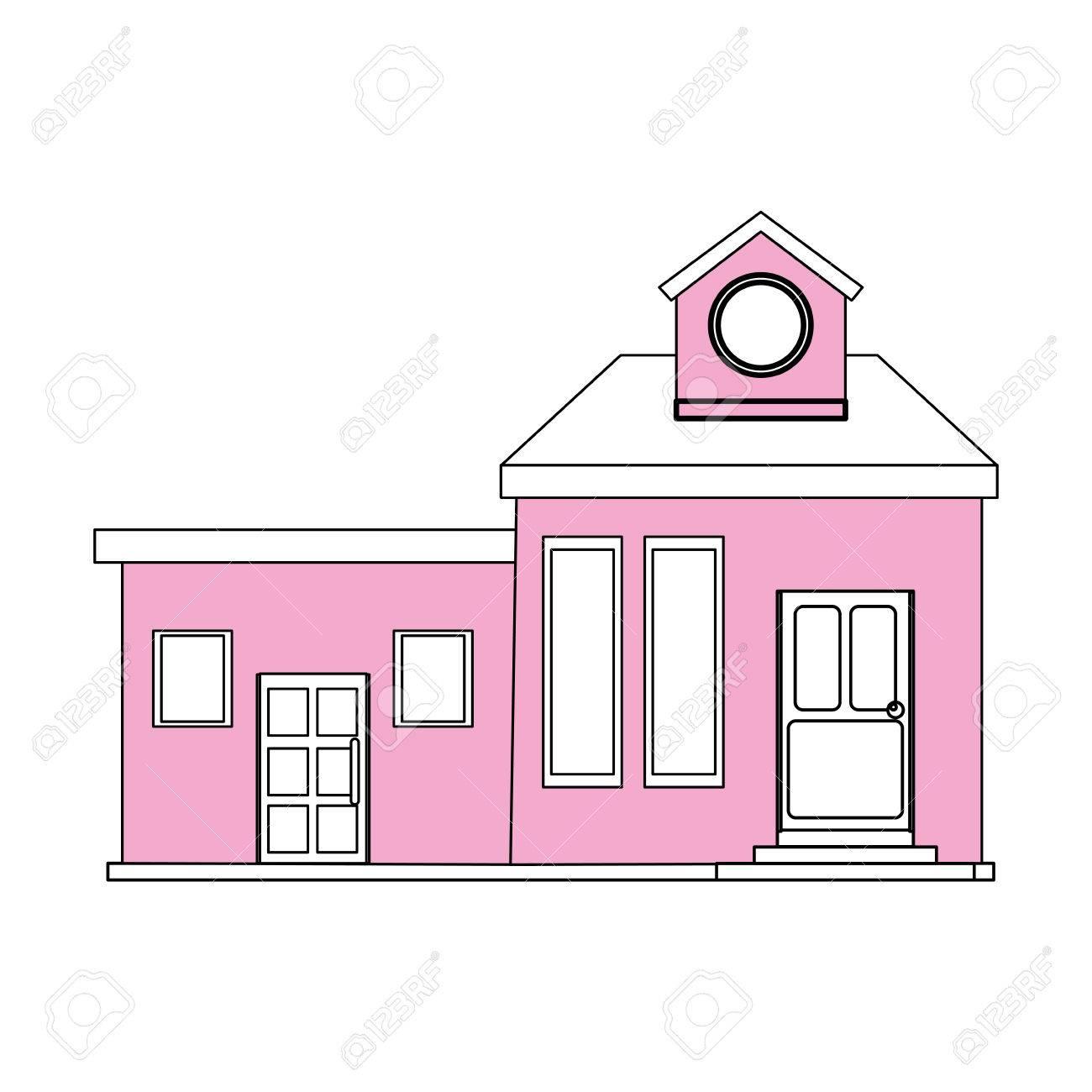Couleur Silhouette Dessin Animé Façade Rose Maison Moderne Avec Deux Chambres Et Grenier Illustration Vectorielle