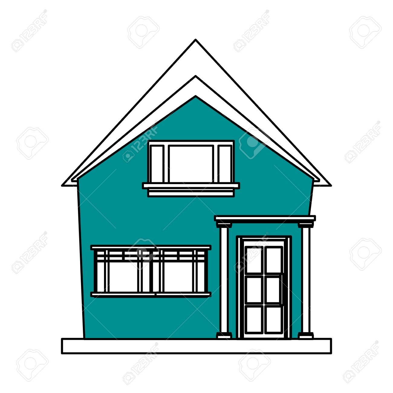 Color Silueta Dibujos Animados Azul Fachada Estructura Irregular Casa Con Ilustración De Vector De Estilo Moderno