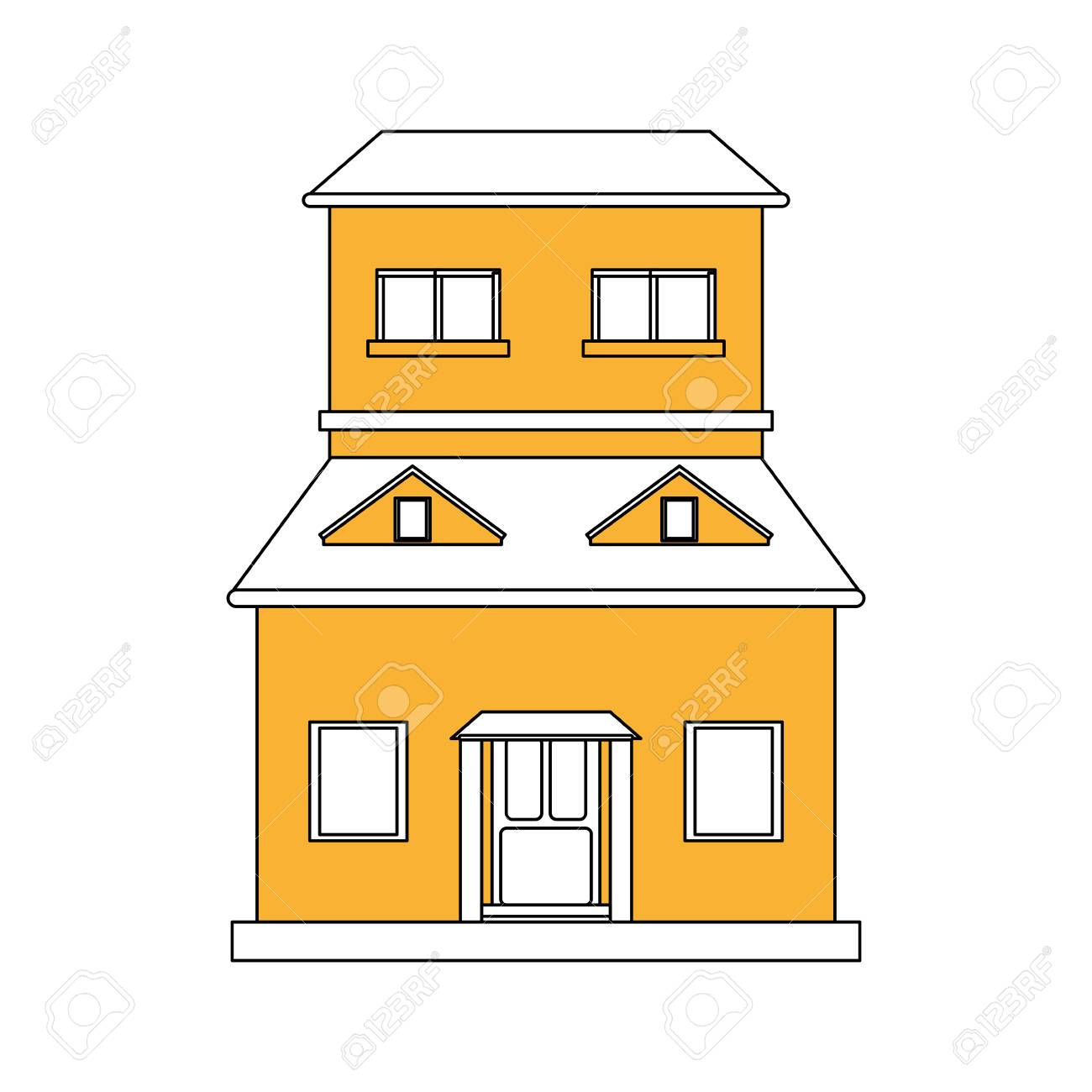 color silhouette cartoon yellow facade structure house with two floors and attic vector illustration Stock Vector  sc 1 st  123RF.com & Color Silhouette Cartoon Yellow Facade Structure House With Two ...