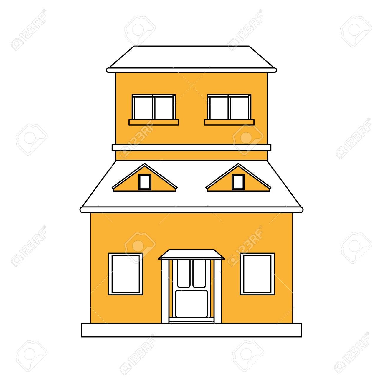 Banque dimages couleur silhouette dessin animé jaune façade structure maison avec deux étages et illustration vectorielle grenier