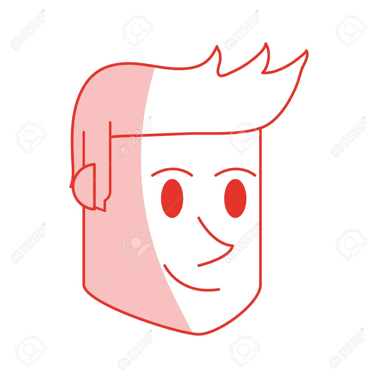 Red Shading Silhouette Cartoon Side View Face Guy With Hairstyle Vector Illustration Royalty Free Cliparts Vetores E Ilustracoes Stock Image 77701485